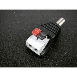 Male Anschlussadapter Adapter DC Stecker - Terminalblock mit Drucktasten 2 Pin schraubenlos