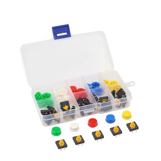 25pcs 12x12x7,3mm 5 Colors Tactile Button Assortment kit for Arduino