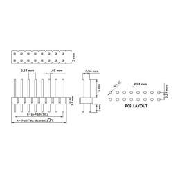 Single Double Row Pin Male Header Stiftleiste Strip 2x40...