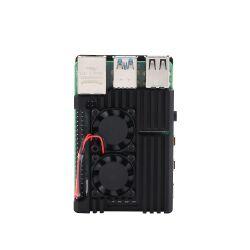 Raspberry Pi 4 Gehaeuse Case aus Aluminium mit Doppellüfter eingebauter Kühlkoerper