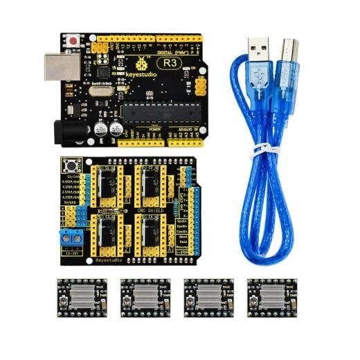 Keyestudio CNC Kit for Arduino Uno R3 (CNC Shield V3 + A4988 / GRBL Compatible)