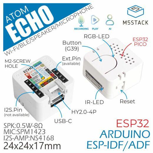 M5Stack ATOM Echo Smart Speaker Development Kit Support A2DP BLE 4.0