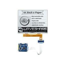 WaveShare 10.3inch e-Paper e-Ink Display HAT For Raspberry Pi, 1872×1404, Black / White, 16 Grey Scales, USB / SPI / I80