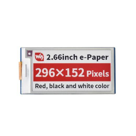 WaveShare 2.66inch E-Paper E-Ink Display Module (B) for Raspberry Pi Pico, 296×152, Red / Black / White, SPI
