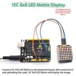 Keyestudio 8*8 LED Dot Matrix Module HT16K33 for Arduino Red Color Common Cathode I2C