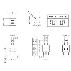 10 Stk. 12,5x8x8mm 6-polig MIniatur Selbstsichernter Taster-Schalter Eingabetaster