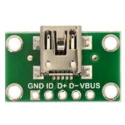 Pololu USB Mini-B Connector Breakout Board, VBUS, GND,...